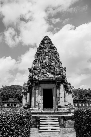 black and white Prasat Hin Rock castle in Phimai Historical Park Nakonratchasima Thailand