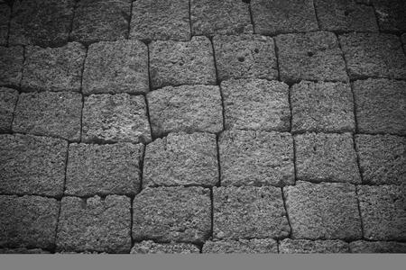 black and white Rock wall background in Phimai Historical Park Nakonratchasima Thailand Stock Photo