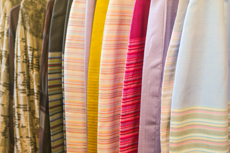 Silk fabric hang on clothes line