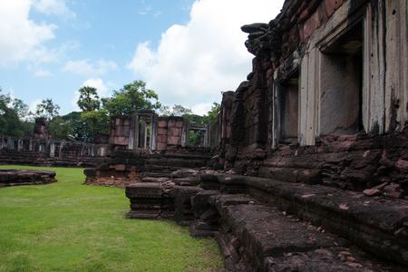 Prasat Hin Rock castle in Phimai Historical Park Nakonratchasima Thailand Editorial