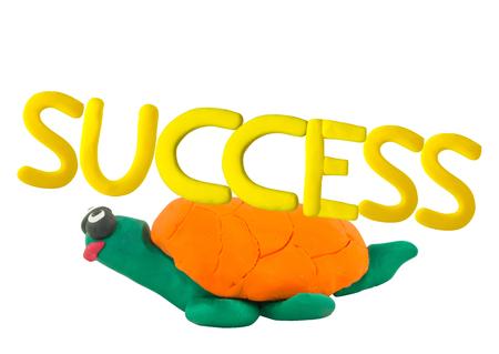 Plasticine Yellow success on yellow turtle concept slow success