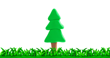 plasticine Pine tree and grass concept nature or alone