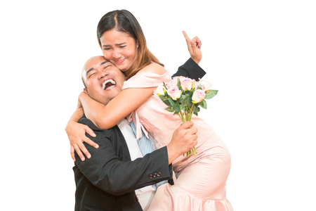 Happy asian man and woman concept wedding on white background