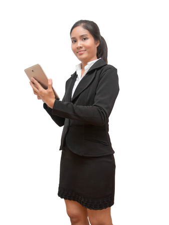 asian Business woman use tablet on white isolated background