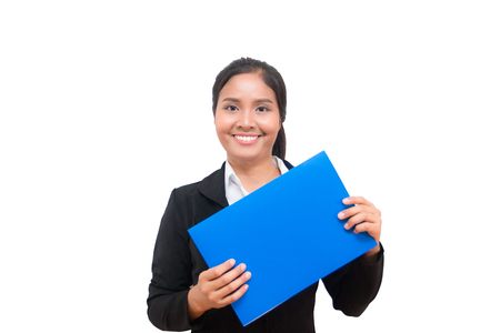 Happy asian woman holding blue sign on white background