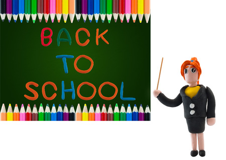 pink and black: colorful wood pencil color frame border background with back to school on chalk board Stock Photo