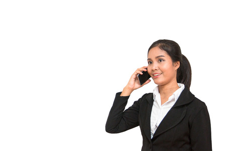 Asian Business Woman with mobile phone on white background Stock Photo
