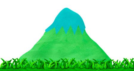 Naturaleza del concepto de montaña y hierba de plastilina Foto de archivo - 87562443