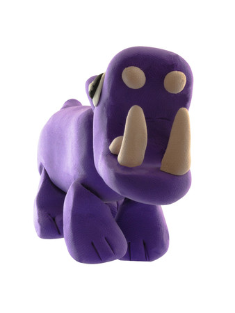 Purple Plasticine Hippo in open mouth show teeth action on white