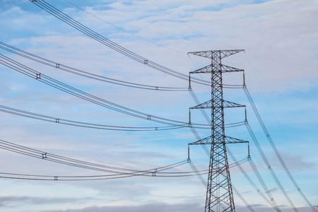 Hight voltage electric pole on blue sky
