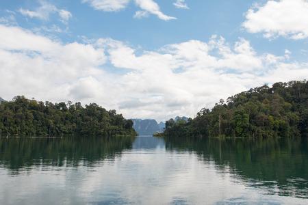 lake view blue sky in ratchaprapa dam thailand