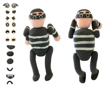 Jumping Plasticine thieve use for criminal concept on white background Stock Photo