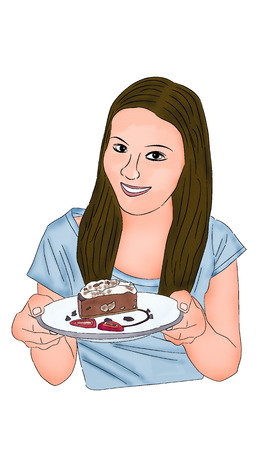 Asian woman with cake drawing and paint