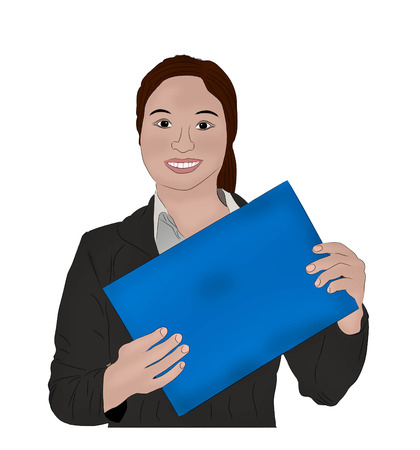 Happy business woman holding sign painting art