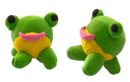 Plasticine green ball frog on white