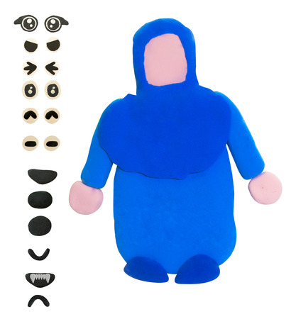 Plasticine Blue muslim girl or woman with eye and mouth Banco de Imagens