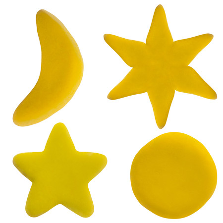 Plasticine star and moon on white isolated background Stockfoto