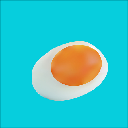 White Boil egg Vector technique on blue background.