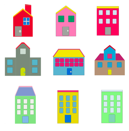 Set of Colorful House icon Design