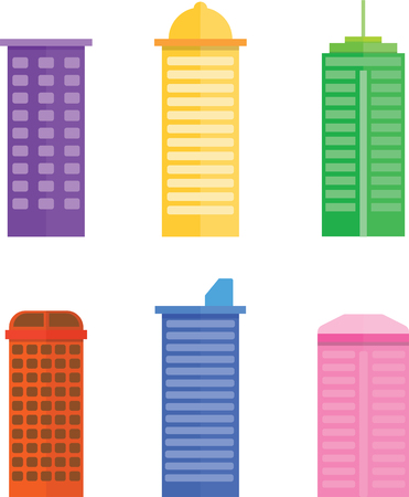 colorful  Building Flat Vector design on white