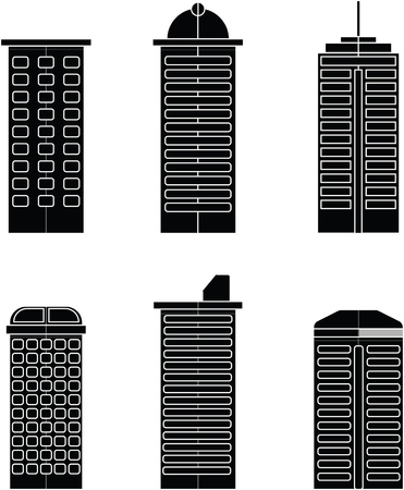 Black and white Building Flat Vector design on white