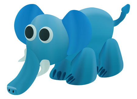 Blue elephant art like plasticine vector design