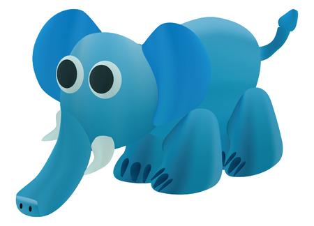 Blue elephant art like plasticine vector design