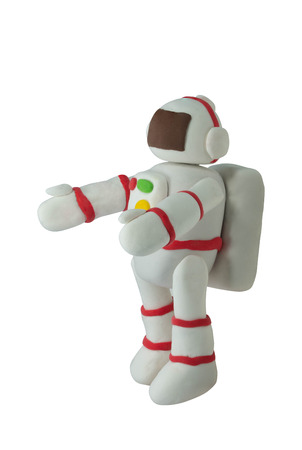 Plasticine White Suit Astronaut on white background in hug action