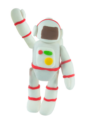 Plasticine White Suit on yellow in wave hand motion on white