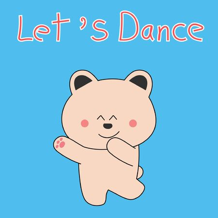 Happy Dancing Bear on blue background