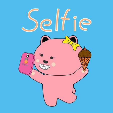 Pink Bear Selfie with ice cream on blue background