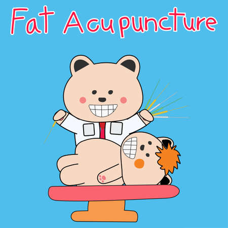 Doctor Bear Acupuncture for Fat reduce Doodle Design Illustration