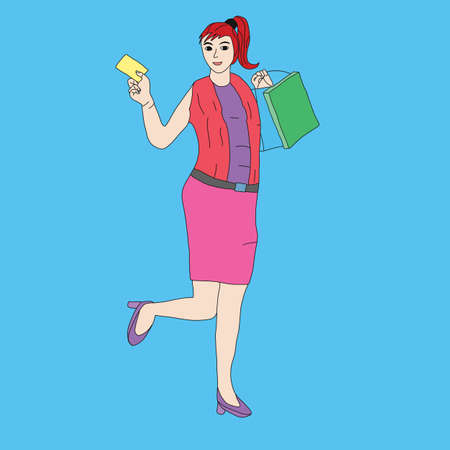 Happy woman Shopping with cradit card Doodle art style