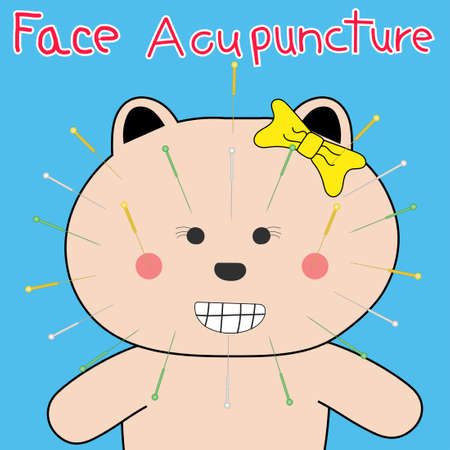 Bear Acupuncture on face concept beauty doodle art design Illustration