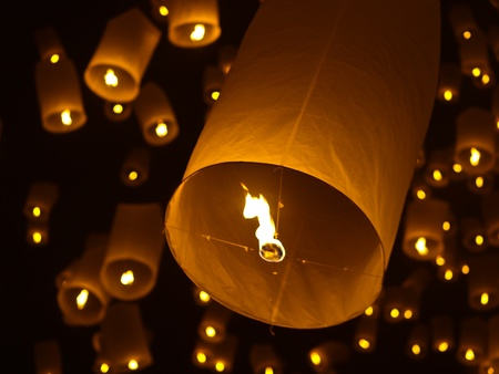 Fire balloon,Loy Kratong Festival in Northern Thailand Stock Photo