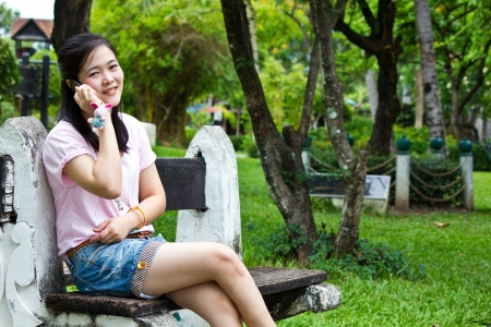 cute woman talk with the mobile phone Stock Photo