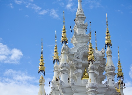 thai temple with blue sky Stock Photo