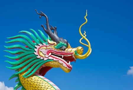 Colorful dragon statue with blue sky in wathyuaplakang temple photo