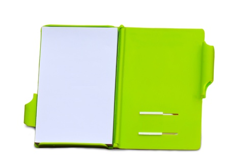 paper notebook open pages on white background Stock Photo - 11398800