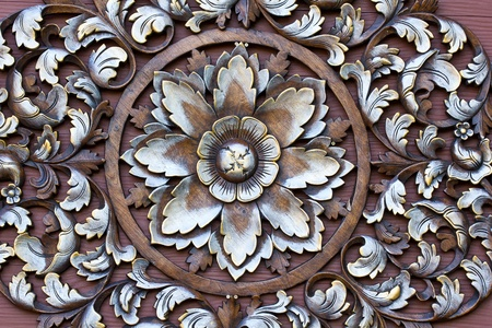 Carved pattern on wood, element of decor Stock Photo