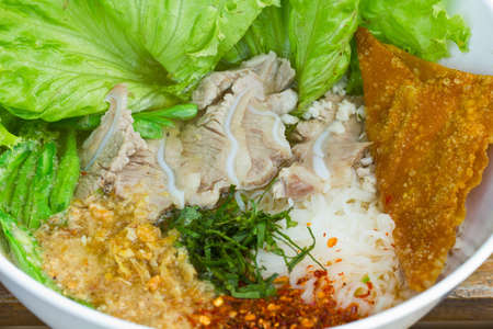 chinese food , rice noodle soup with sliced pork Stock Photo