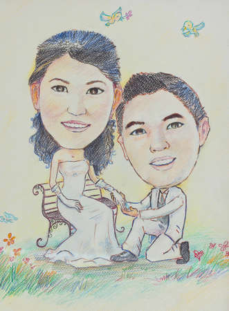 cartoon wedding couple and say Will you Marry Me