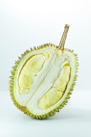 King of fruits, durian on white wood background Stock Photo