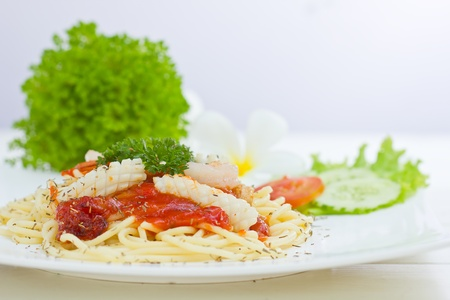 Delicious pasta seafood on dish