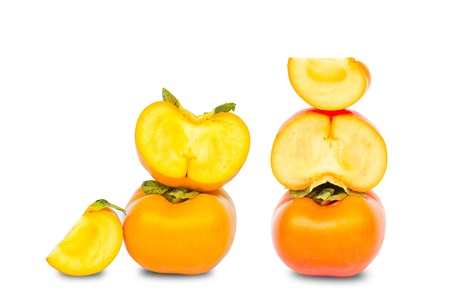 fresh persimmon slice  isolated on white background Stock Photo