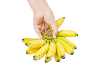 hand hold fresh banana on white background Stock Photo - 15059403