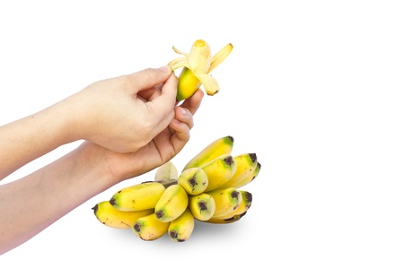 hands hold fresh banana on white background Stock Photo - 15059402