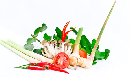 tom yum kung, thai herb for Spicy Shrimp Soup prepare on white background