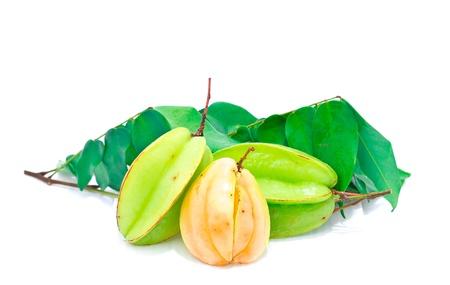 Carambole or  star fruit on white background
