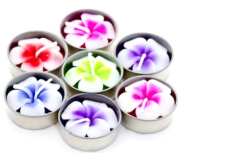 plumeria flowers of candle spa on white background photo